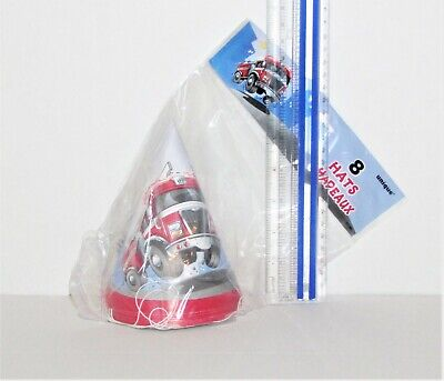 Fire Engine Party (Fast Fire Engine Cone Hats 8/pk #21491 - Firefighter Party Cone)
