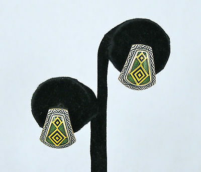 Carolyn Pollack Sterling Silver Green Stone Gold & Onyx Enamel Earrings