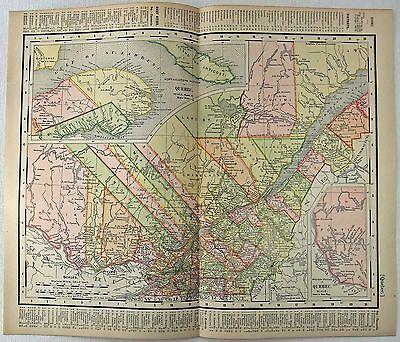 Rare Original 1901 Map of Quebec by Rand McNally