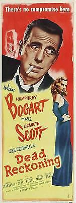 DEAD RECKONING Movie POSTER 14x36 Insert Humphrey Bogart Lizabeth Scott Morris