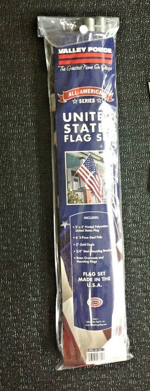 Valley Forge US FLAG 3' X 5' American USA Flag Set Kit WITH