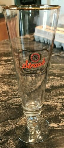 VINTAGE STRAUB BEER - BREWING CO DRINKING STEM GLASS ST. MARY