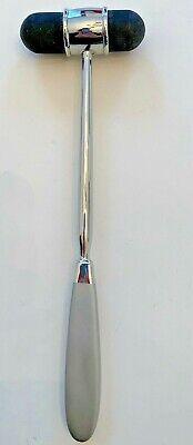 Medical Reflex Hammer Percussion Metal Silvertone 9.5l Rubber Ends