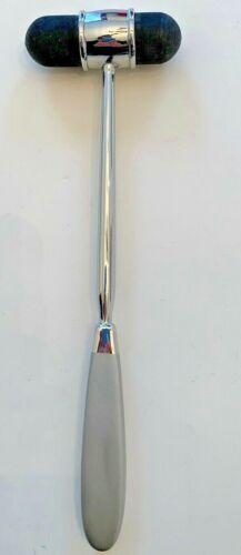 "Medical Reflex Hammer Percussion Metal Silvertone 9.5""l Rubber Ends"