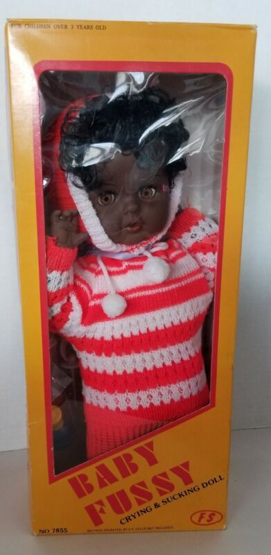 Vintage Baby Fussy African American Doll Crying & Sucking Unused In Box No 7855