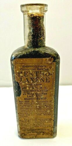 Antique Mentho Laxine Cough Syrup Medicine Amber Apothecary Bottle w Label