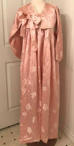 Vintage 1960s Korean Asian Hanbok Kimono pink satin Jeogori Chima XS