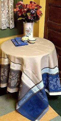FRENCH JACQUARD PROVENCAL TABLECLOTH 'Rosa' 75x60  beige-unhappy- grey