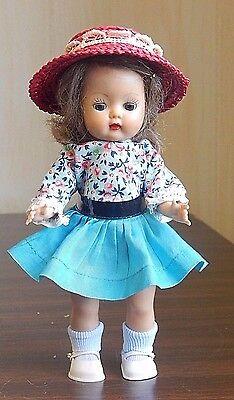 "Nancy Ann MUFFIE 8"" Plastic Head-Turning Walker Doll in Vintage Skirt Top Hat"