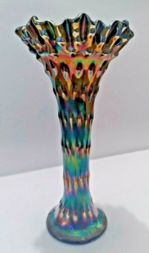 Vintage FENTON CARNIVAL GLASS RUSTIC PATTERN VASE ( Tree Trunk ) 10""