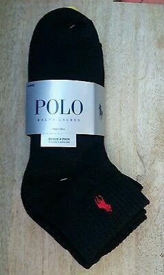 Polo Ralph Lauren Mens 4 Pair Classic Ankle Sport Socks Black NEW