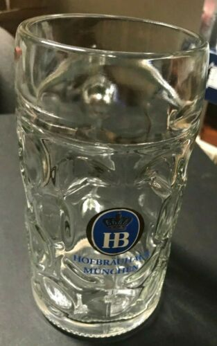 HOFBRAUHAUS MUNCHEN LARGE DIMPLED GLASS BEER STEIN