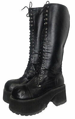 Morbid Threads 9 Or 9.5 Black Platform Kiss Costume Goth Boots Knee High Lace Up