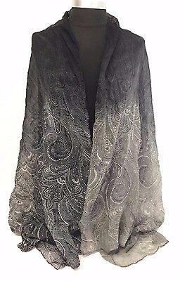 New Fashion Women Printed Chiffon Scarf Wrap Ladies Shawl Long Soft Black/Gray