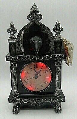 NEW Animated Haunted RAVEN Clock Halloween Decor Motion & Sound Activated Skulls