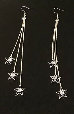 MULTI STRAND SNAKE CHAIN LONG Tassel SPARKLE RHINESTONE CRYSTAL STARS EARRINGS ()