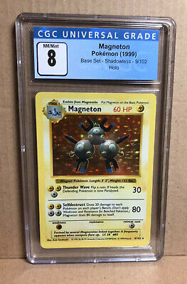 Graded Pokemon Base Set 9/102 Shadowless Magneton Holo CGC 8 PSA Equivalent