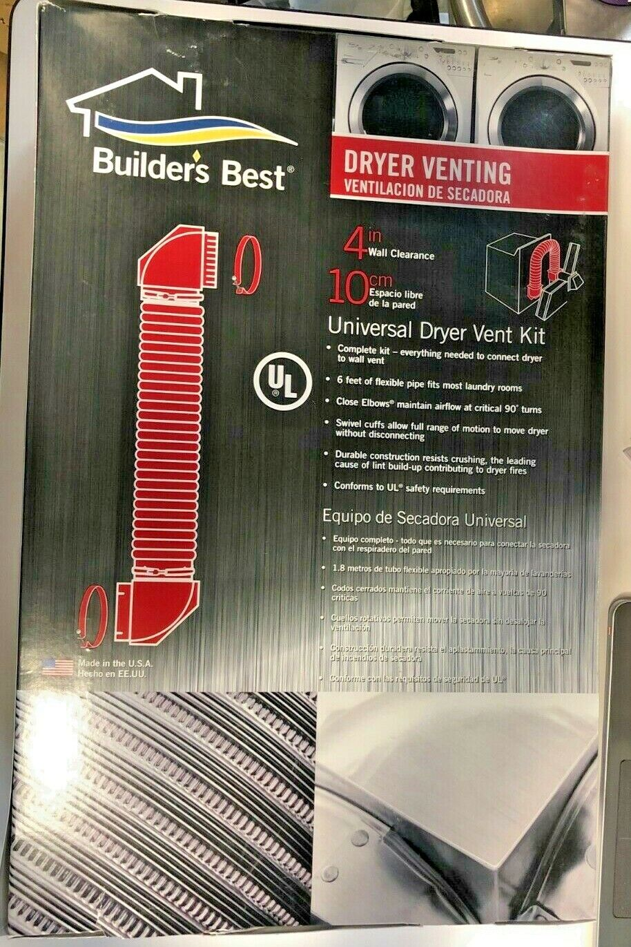 "Builder's Best 080118 Universal Dryer Vent Kit, 4"" Wall Clea"