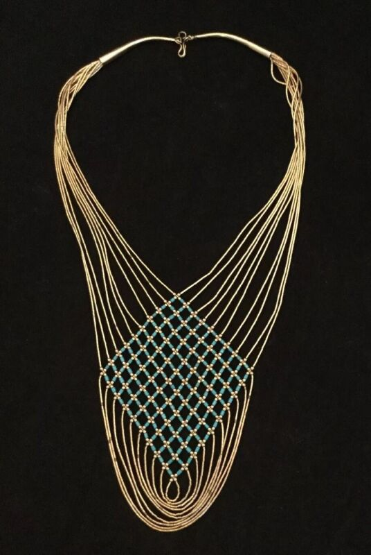 """VINTAGE 10 STRAND GOLD FILLED LIQUID SILVER NECKLACE W/TURQUOISE 27"""" Long 40g"""
