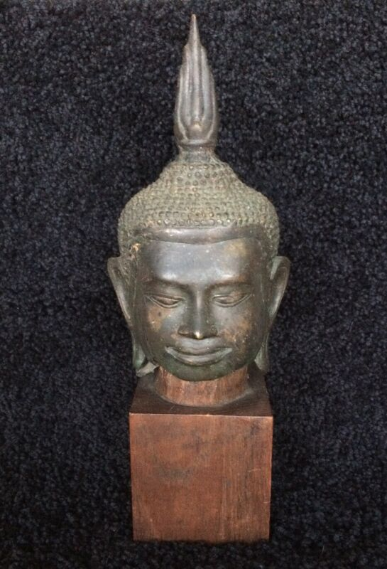 Buddha Bust ~ Antique Thai Bronze Head on a Wood Stand