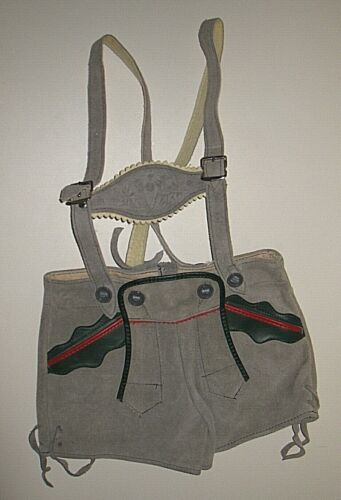 Traditional Child Gray Leather Lederhosen Germany size 92 US 3 3T  Echt Leder