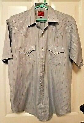 Vintage Western Wear (Vintage Plains Western Wear Mens Pearl Snap Short Sleeve Striped Shirt Medium )