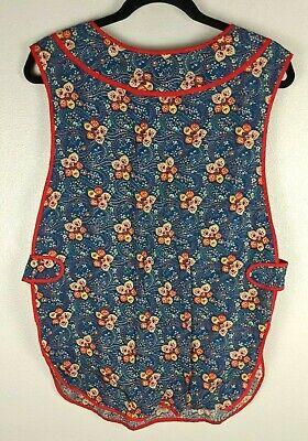 Vintage Aprons, Retro Aprons, Old Fashioned Aprons & Patterns Vintage Smock Apron Homemade Blue Red Floral Front Pockets Grandma  $9.00 AT vintagedancer.com