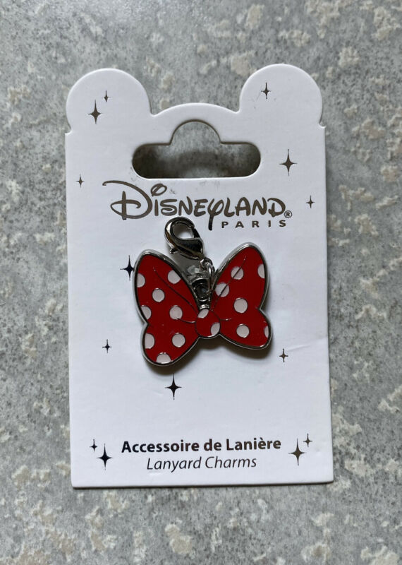 Disney DLRP DLP Disneyland Paris Minnie Mouse Polka Dot Bow Pin Lanyard Charm