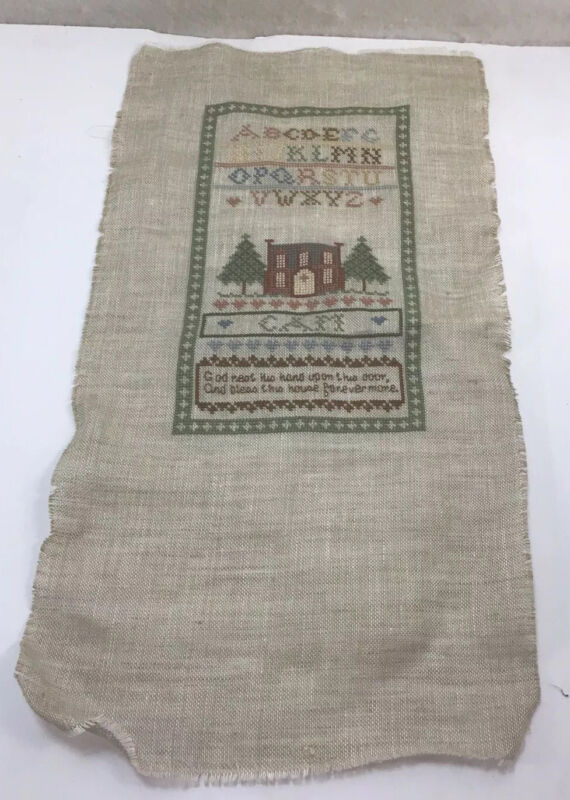 """Completed Alphabet Cross Stitch Sampler 10 3/4"""" X 20"""" On Brown Linen Free Ship"""
