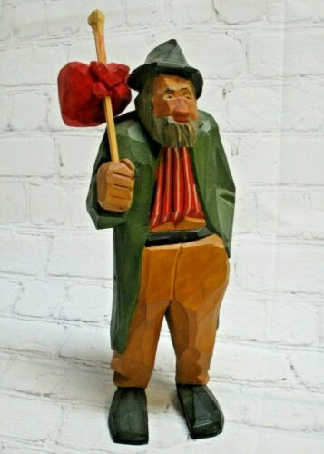 S. GUNNARSSON Swedish Wood Carving Carved Man Hobo w/ Bindle, Folk Art 1953