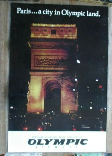 Vintage Original OLYMPIC AIRWAYS Paris...A City Travel Poster Arch of Triumph