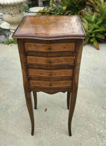19th Century French Burl Marquetry Inlay Nightstand / Side Table