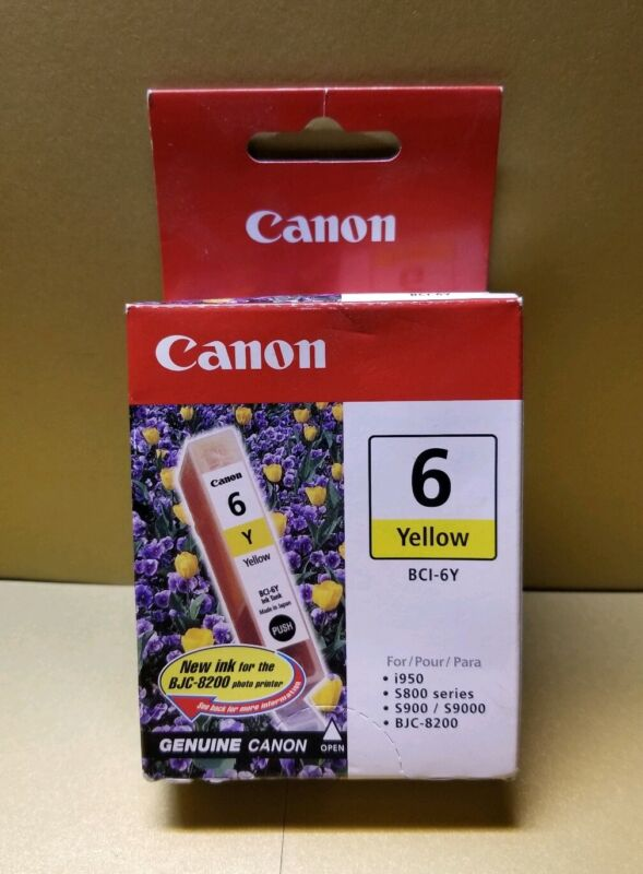 CANON BCI-6Y Yellow Ink Cartridge 4708A003 (Authentic, Sealed)