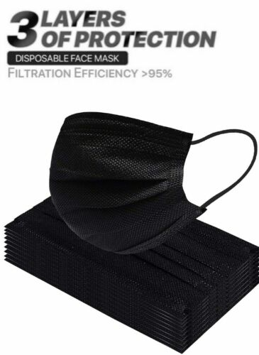 100 Pcs Black Color Face Mask Mouth Nose Protector Respirator Masks with Filter