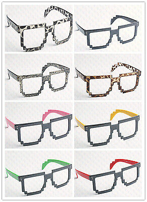 8 Bit Pixel Retro Pixelated Glasses Geek Nerd Computer Cartoon Party No - Pixelated Glasses