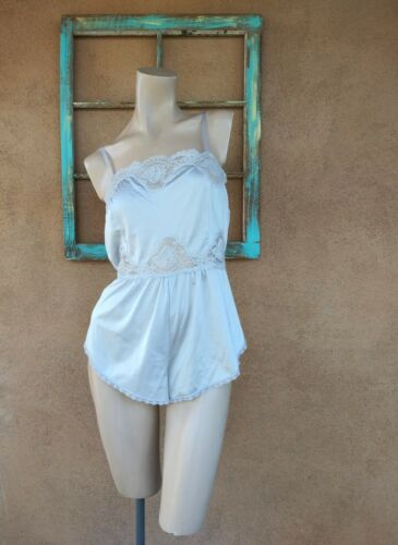 VTG 1970s Gray Lacy Teddy Blush Pin Up Lingerie Sz M