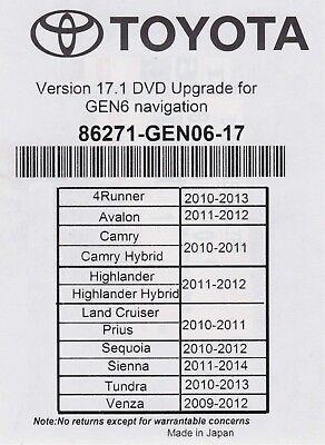 2010 2011 2012 Toyota Sequoia Navigation 2018 Map Update DVD Gen 6 17.1 u99