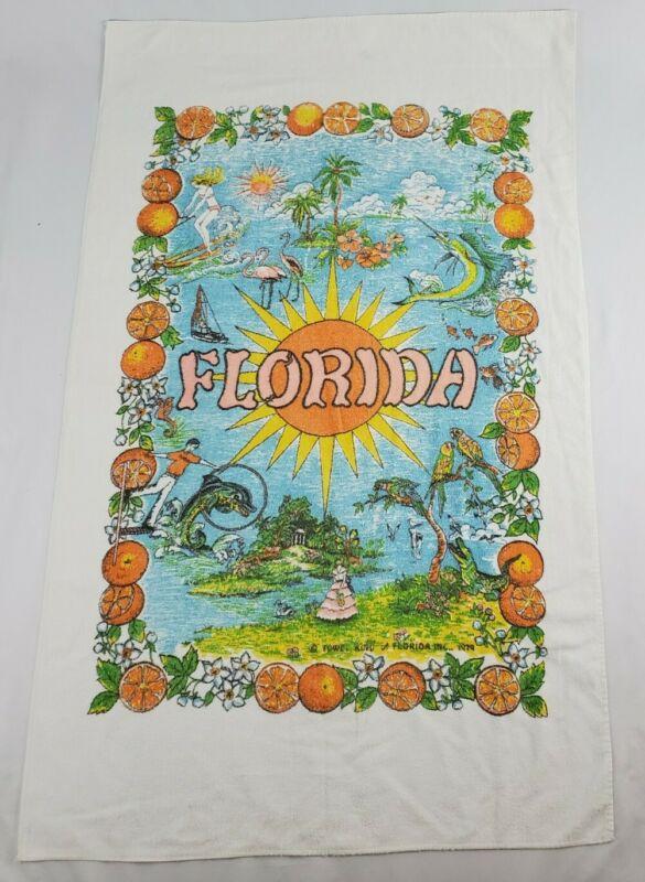 Vintage Florida Sunshine Tourist Beach Towel Oranges Flamingo Sailfish 1979