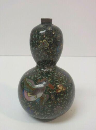 "19th C. Japanese Cloisonne Enamel on Bronze 4.25"" Miniature Gourd Vase"