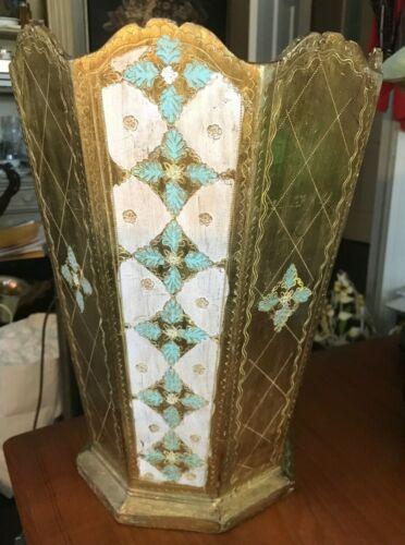 Vintage Tole Florentine Gold & White Italian Waste Basket Trash Can Italy
