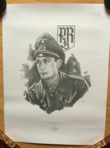 Signed Limited Edition Print WWII German Major Horst Ramsch * Knights Cross