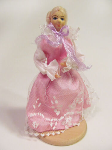 *Vintage Polish Handcrafted Dollhouse Doll Lady Lace Dress Rubber Body