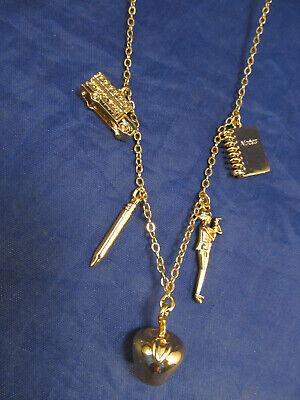 "*J Crew Crewcuts Gold Tone School Charm Necklace Notebook Apple Pencil 18"""