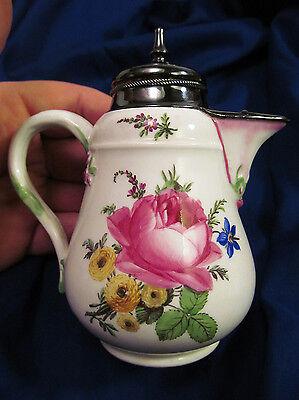 * 18th C Meissen Marcolini Period Porcelain Cream Pot Silver Mounts Flowers
