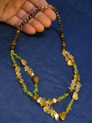*Signed LS Lee Sands Tiger's Eye Peridot Citrine Beaded Gemstone Necklace