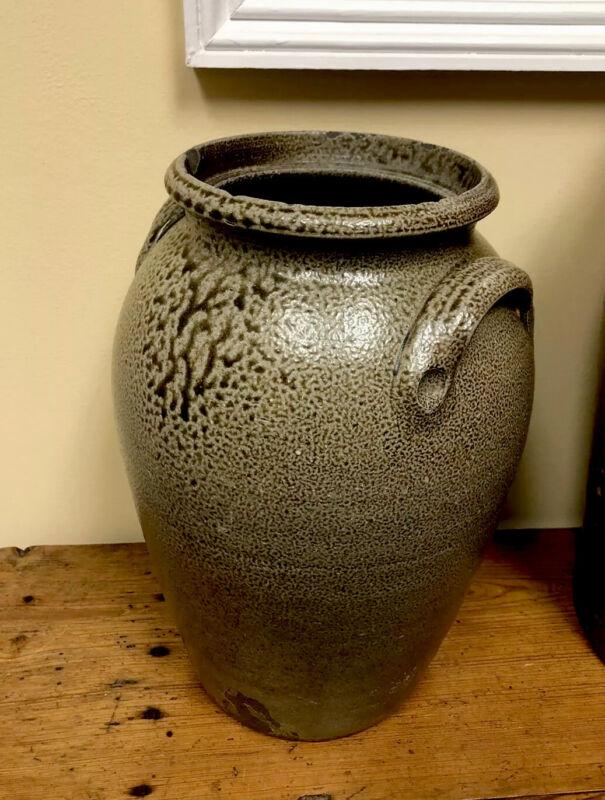 Antique RARE 3 Gallon JF Brower NC Stoneware JAR. (Masonic Stamp)Nice early Jar.