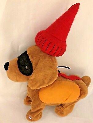 """Plush Gemmy 9X10"""" Party Dog Music Box plays Who Let the Dogs Out"""