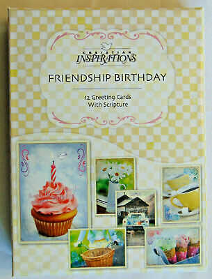 BOX 12 Christian Friendship Birthday Greeting Cards with Bible Scripture Verse Bible Greeting Cards