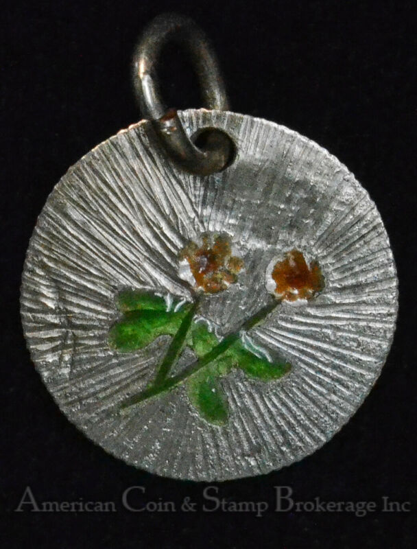 Great Britain silver Love Token Engraved & Enameled on 6 Pence Necklace Ready