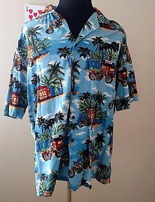 Aloha Republic Men's Hawaiian Shirt Size Large L Ocean Motorcycle Palm Trees